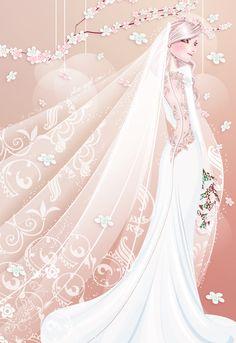 Pink - The Bride by Jaalondon Wedding Art, Wedding Images, Wedding Pictures, Wedding Gowns, Wedding Venues, Bella Swan Wedding Dress, Wedding Illustration, Wedding Glasses, Here Comes The Bride