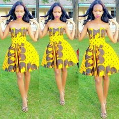 Get super trendy with these jaw-dropping Ankara styles! How cool is it to find a selection of cleverly designed Ankara styles that look fantastic, but which are not going to break the bank when you… African Dresses For Women, African Print Dresses, African Attire, African Wear, African Women, African Prints, African Style, African Clothes, African Fabric