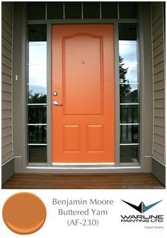 Another Orange Front Door Color by Benjamin Moore - Buttered Yam This would be beautiful with some plush green plants at the door Front Door Paint Colors, Exterior Paint Colors For House, Painted Front Doors, Paint Colors For Home, Paint Colours, Siding Colors, Vibrant Colors, Unique Front Doors, Orange Front Doors