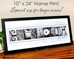 Custom LAST NAME Alphabet Photography B&W  Photo Letters 10x24 Print (unframed) Special Size for Longer Names