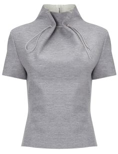 Grey Wool Gathered Neck Top | J.JS Lee | Avenue32