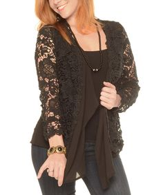 Love this Black Lace-Sleeve Open Cardigan - Plus on #zulily! #zulilyfinds