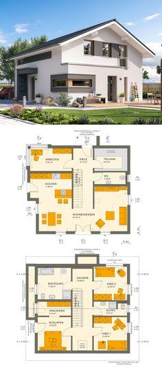 Modernes Design Haus mit Galerie & Satteldach Architektur - Einfamilienhaus bauen Grundriss Fertighaus Sunshine 154 V5 Living Haus - HausbauDirekt.de