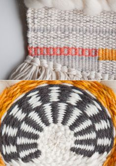This is another one of my favorite weaving techniques. The vertical stripe looks complicated, but it's just a simple plain weave pattern that you change colors. Weaving Textiles, Weaving Art, Tapestry Weaving, Loom Weaving, Pin Weaving, Crochet Yarn, Crochet Stitches, Crochet Patterns, Weaving Projects
