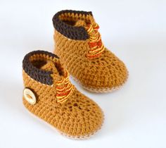 CROCHET PATTERN Baby Booties Timberland style Construction