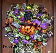 SPARKLY JACK-0-LANTERN Halloween Wreath by decoglitz on Etsy