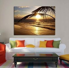 Framed Large Wall Art Canvas Sunlight Burns Between Palm Leafs | Extra Large Wall Art Canvas Print