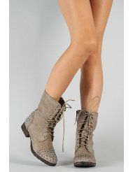cd20b2f46b74 Breckelle Georgia Studded Military Lace Up Boot