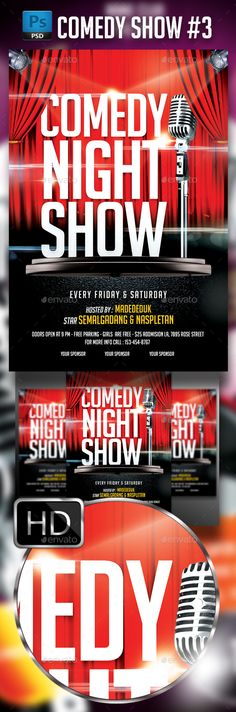 Comedy Show Flyer Event flyers, Design posters and Font logo - comedy show flyer template