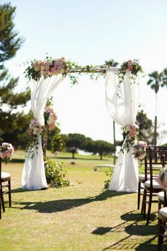 Beautiful floral and linen archway