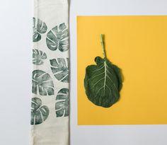 Block printed tea towel - unbleached flour sack cotton - green  - tropical leaf print