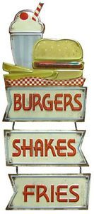 Add a nostalgia feel to wall décor with the vintage Burgers, Shakes & Fries Embossed Die Cut Tin Sign⎜Open Road Brands Diner Sign, Cafe Sign, 1950s Diner, Retro Diner, Art Craft Store, Craft Stores, Tin Signs, Metal Signs, Burgers And Shakes