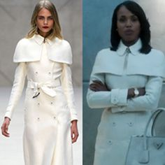 This coat was BAD.  style Inspiration   Olivia Pope in Burberry Prorsum Double Caped Duchess Satin Trench