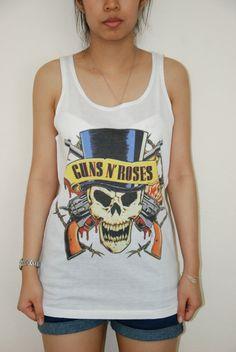 GUNS N' ROSES Shirts Heavy Metal Rock Shirts Hard Rock Women Shirts Unisex Tank Vest Tank Top Women Sleeveless Tunics Singlet Size M