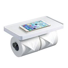 Hiendure Wall Mounted Stainless Steel Double Toilet Tissue Holder With Phone Holder  White Painting *** Be sure to check out this awesome product. Note:It is Affiliate Link to Amazon.