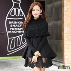 2015 Autumn Long Sleeve Pullover Sweaters Vintage Cape Turtleneck Cloak Sweater Ball Gown Lace Knitted Red / Black Women Dress-in Dresses from Women's Clothing & Accessories on Aliexpress.com | Alibaba Group