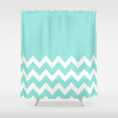 Chevron Colorblock Tiffany Blue Shower Curtain