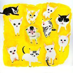 Kittens in yellow surroundings by Marie Åhfeldt, Mås Illustra. www.masillustra.se #cat #yellow #masillustra #illustration