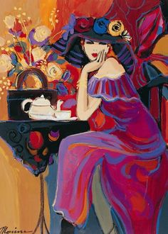 Women in Painting by Israeli Artist Isaac Maimon  Elegant woman having tea.