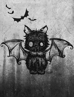 I've been thinking of drawing a bat/cat, and I ran across this illustration, which I think is fabulous. Kunst Tattoos, Body Art Tattoos, Dark Art Tattoo, Arte Horror, Creepy Cute, Halloween Art, Halloween Pictures, Happy Halloween, Cute Halloween Tattoos