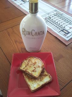Rumchata french toast!    3 eggs, 1/2 cup milk, 1/4 cup Rumchata. Butter the griddle and cook until golden brown! Yummo!!