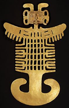 The Tolima peoples of Colombia's Magdalena Valley produced a distinctive type of gold object, in 1965 I lived in Ibague, in Tolima, Colombia, home of the tribes that produced this magnificent gold art.  Visit the Museo del Oro in Bogota for an unforgettable experience!