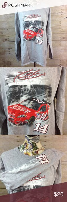 """Men's NASCAR LS Shirt Gray Tony Stewart Large Pre owned Tony Stewart Long Sleeve shirt #14 Office Depot NASCAR Gray Size Large Cotton Blend Made in Mexico Measurements taken with garment flat: Shoulder to shoulder measures approximately 20"""" across Pit to pit measures approximately 22"""" across Length measures approximately 31"""" long NASCAR  Shirts Tees - Long Sleeve"""