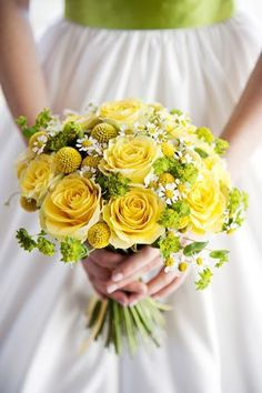 ~Yellow rose wedding bouquet, love the green sash on dress, just beautiful for spring wedding outdoors~ Yellow Wedding Flowers, Rose Wedding Bouquet, Bridal Flowers, Yellow Roses, Wedding Colors, Wax Flowers, Green Rose, Fresh Green, Exotic Flowers