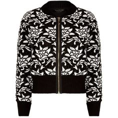Juicy Couture Guipure Lace Bomber Jacket (€245) ❤ liked on Polyvore featuring outerwear, jackets, bomber jacket, black cropped jacket, black bomber jacket, floral bomber jacket and juicy couture jacket
