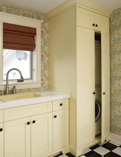 Small Laundry Room Solutions Design Ideas, Pictures, Remodel, and Decor - page 2 Laundry In Kitchen, Laundry Bathroom Combo, Laundry Cabinets, Laundry Closet, Laundry Room Organization, Small Bathroom, Laundry Rooms, Kitchen Cabinets, Basement Laundry