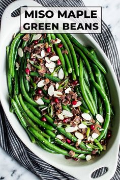 This crisp and vibrant green bean salad tossed in a miso sauce is perfect for your holiday gatherings. Bacon bits and toasted almonds add flavor and texture. #glutenfree #miso #maple #bacon #greenbeans #sidedish Thanksgiving Green Beans, Thanksgiving Side Dishes, Thanksgiving Recipes, Healthy Side Dishes, Good Healthy Recipes, Vegetable Side Dishes, Free Recipes, Delicious Recipes, Good Green Bean Recipe