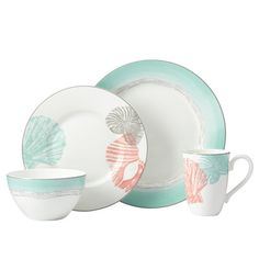 Lenox Sandy Point 4 Piece Place Setting at Wayfair.com As if washed up from the sea itself, soft shades of turquoise and coral create the Sandy Point 4 piece place setting. Decorated with a motif of sand and shell, each shore themed dinnerware piece is crafted of shimmering porcelain.