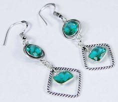 Tsavorite Quartz & 925 Silver Handmade Lovely Earrings 54mm & gift-box