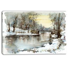 White Bridge Over River Landscape Painting Print on Wrapped Canvas