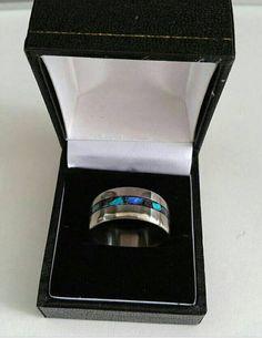 Titanium Wedding Band with Blue Labradorite and Aquamarine Stone inlay