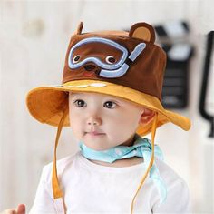 Baby bear hat brown cartoon beardiver bucket hat sun protection a321c92900d4