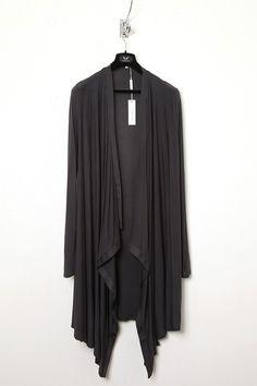 UNCONDITIONAL super dark grey rayon long drape cardigan.