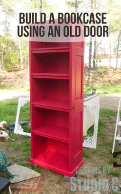 how to build a bookcase using an old door