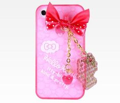 Hello Kitty iPhone4 Case with Charm: Pink  I want an iPhone just so that i can have this!