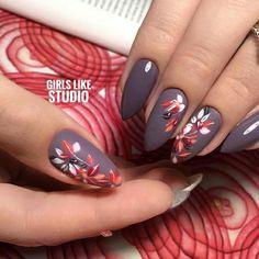 Summer Nail Designs - My Cool Nail Designs Diy Nails, Cute Nails, Pretty Nails, Autumn Nails, Winter Nails, Fall Almond Nails, Spring Nails, Fall Nail Art Designs, Floral Nail Art