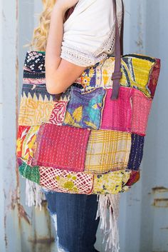 Hello patchwork and hello gorgeous! This large oversized tote by American & Beyond is all things boho and vintage. Brown leather straps contrast nicely with the multi print, multicolo Diy Purse Organizer, Embroidered Bag, Boho Bags, Patchwork Bags, Fabric Bags, Bag Making, Purses And Handbags, Tote Bag, Leather Shoulder Bag