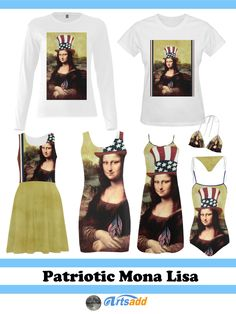 Womens Fashion - #Patriotic #MonaLisa, proudly wears her Uncle Sam hat and smiles as she holds on to little American Flags. #SpoofingTheArts #ArtsAdd #gravityx9 4thofjuly #fourthofjuly -