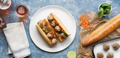 Pork Banh Mi with Sriracha Mayo and Shallot Jam recipe. Sriracha Recipes, Jam Recipes, Cooking Recipes, Weeknight Meals, Hot Dog Buns, Yummy Treats, Pork, Menu