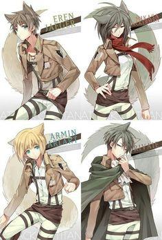 Eren, Mikasa, Armin, Levi, cute, cat, text; Attack on Titan