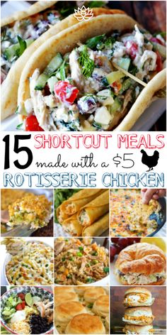 15 Easy + Affordable Rotisserie Chicken Shortcut Meals – Sarah Blooms Try these easy and delicious budget-friendly chicken recipes made Healthy Recipes On A Budget, Healthy Meal Prep, Healthy Dinner Recipes, Appetizer Recipes, Healthy Snacks, Vegetarian Recipes, Cheap Recipes, Breakfast Healthy, Easy Recipes