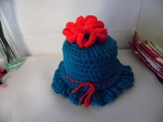 Teal and Red Crocheted Toilet Paper Roll Cover #Handmade