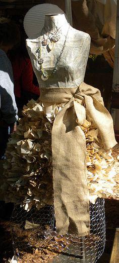 paper stuffed in chicken wire dress form