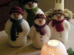 Needle Felted Snowmen
