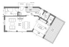 An diesem Haus erkennt man deutlich die Vorzüge, aber auch die Herausforderungen einer Hanglage. Eingebettet in einen herrlichen Garten schmiegt sich dieses moderne Haus an in seine Umgebung ein. Die Terrasse wird quasi zur Dachterrasse, der wettergeschützte Balkon könnte ein echter Lieblingsplatz werden. Das klare Weiß sorgt für Frische, der lichtgraue Sockel wirkt leicht und ist doch abgesetzt und das schwarze Dach setzt, gemeinsam mit den dunklen Fenstern, Akzente. Gesamtwohnfläche 129…