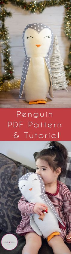 Winter is on it's way! And what better way to prepare than make this adorable penguin? Okay, so I kind of actually don't like winter. I like the decor, actually… Easy Sewing Projects, Sewing Tutorials, Sewing Ideas, Bag Tutorials, Sewing For Kids, Free Sewing, Cute Penguins, How To Make Clothes, Sewing Toys